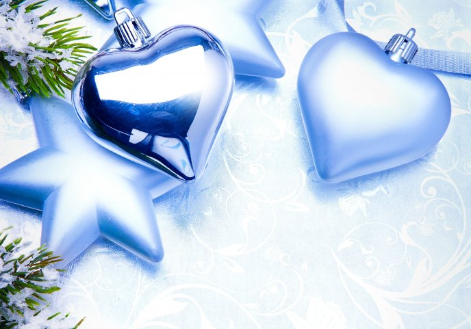 Blue hearts - Christmas ornaments HD wallpaper