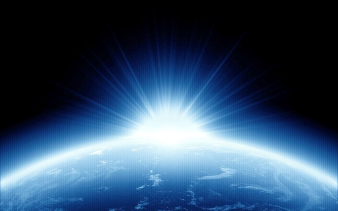 Blue light under the planet Earth - HD space blue, wallpaper