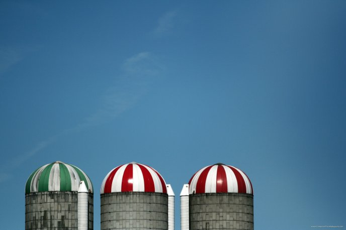 Three colored water towers - lollipops