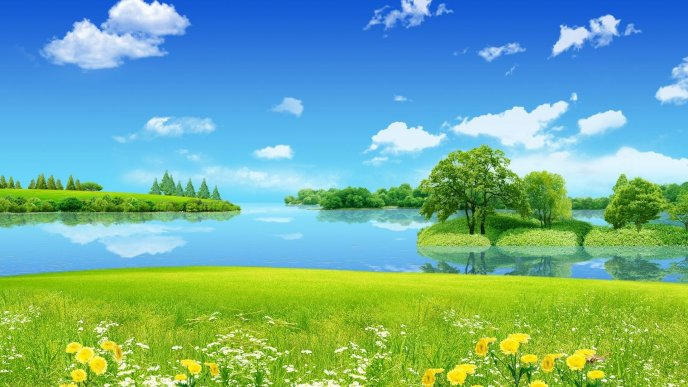 Beautiful painting of nature - HD wallpaper