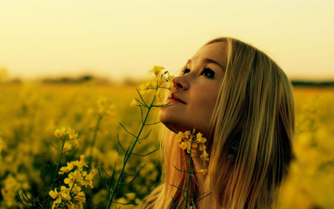 Beautiful blonde girl on a field full with yellow flowers