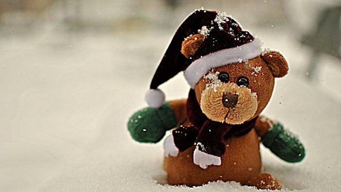 Teddy bear with beanie and scarf in the snow - Mascot