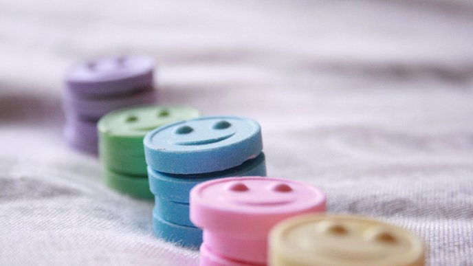 Colored smile face tablets - HD wallpaper