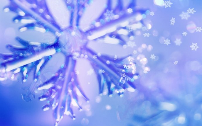 Snowflake in the blue and purple light - Macro wallpaper