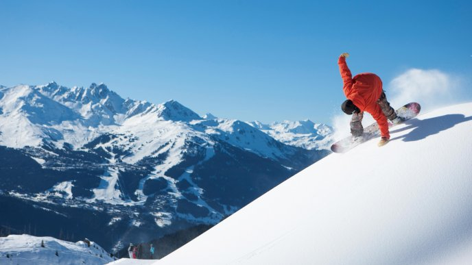 Snowbord time on the top of the mountain-Winter season sport