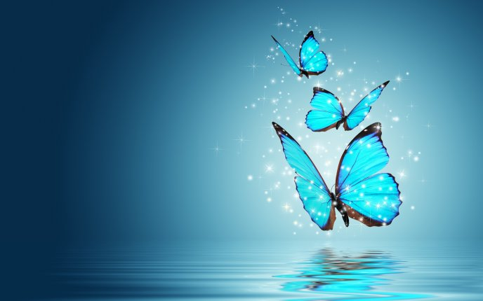 Blue azur butterflies - Mirror in the water - HD wallpaper