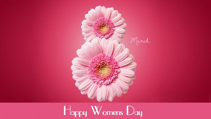 Wonderful 8 made from pink flowers - Happy Woman's day