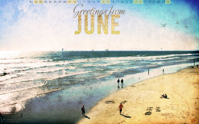 June - first day of summer season - Walk on the golden sand