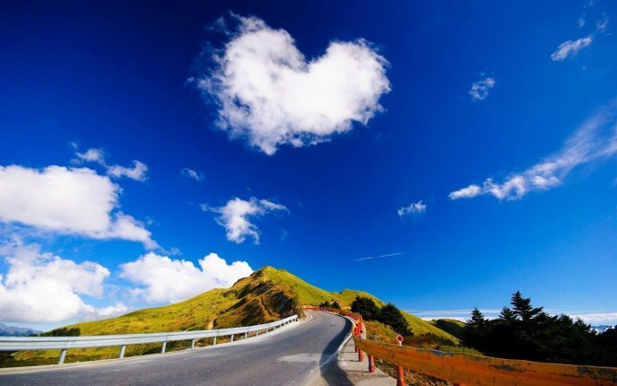 Love on the sky - Beautiful heart cloud shape