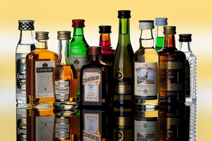 Collection of spirits - famous brands