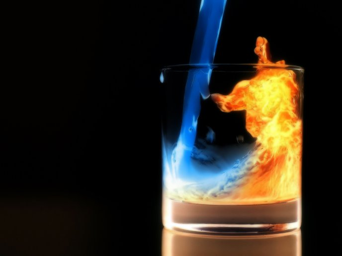 Wonderful magic drink - water turned into fire
