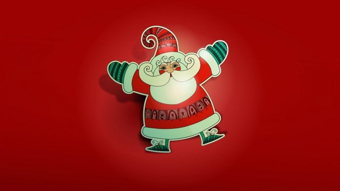 Happy Santa Claus made from paper - Red background