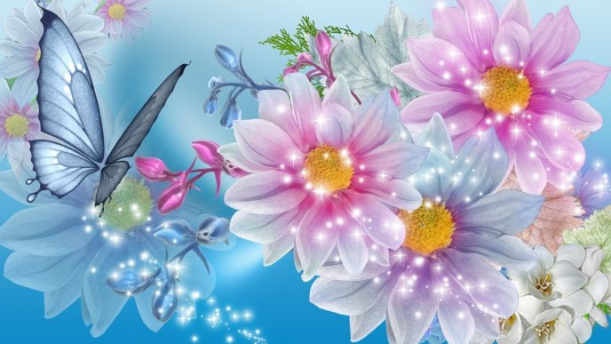Blue butterfly and colourful flowers - Digital art design